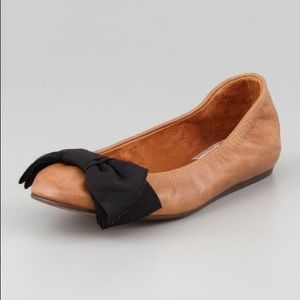LANVIN Grosgrain Bow Leather Ballet Flats